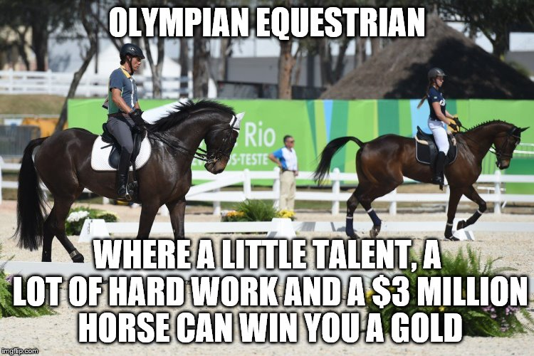 If only I had chosen it at school... |  OLYMPIAN EQUESTRIAN; WHERE A LITTLE TALENT, A LOT OF HARD WORK AND A $3 MILLION HORSE CAN WIN YOU A GOLD | image tagged in memes,equestrian,sport,rio olympics,animals | made w/ Imgflip meme maker