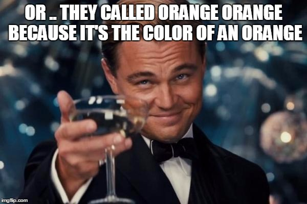 Leonardo Dicaprio Cheers Meme | OR .. THEY CALLED ORANGE ORANGE BECAUSE IT'S THE COLOR OF AN ORANGE | image tagged in memes,leonardo dicaprio cheers | made w/ Imgflip meme maker