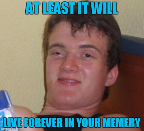 10 Guy Meme | AT LEAST IT WILL LIVE FOREVER IN YOUR MEMERY | image tagged in memes,10 guy | made w/ Imgflip meme maker
