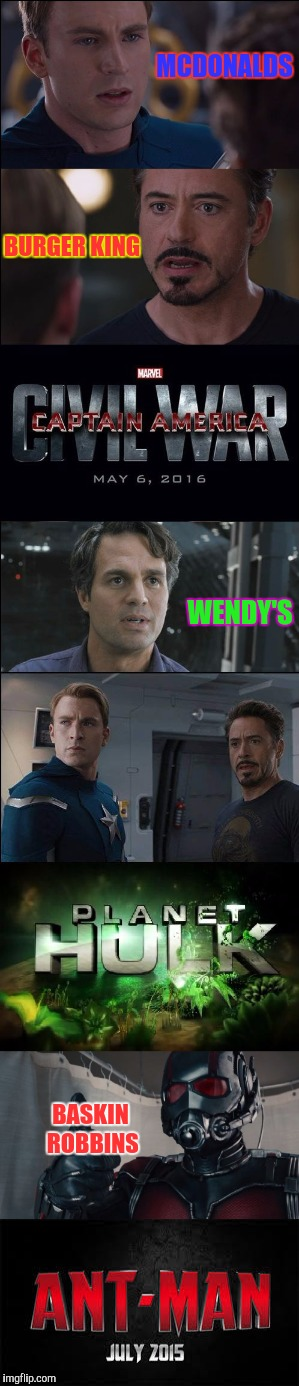 Now with an AntMan ending :) |  MCDONALDS; BURGER KING; WENDY'S; BASKIN ROBBINS | image tagged in memes,civil war/planet hulk,ant man | made w/ Imgflip meme maker