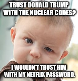 Skeptical Baby |  TRUST DONALD TRUMP WITH THE NUCLEAR CODES? I WOULDN'T TRUST HIM WITH MY NETFLIX PASSWORD. | image tagged in memes,skeptical baby | made w/ Imgflip meme maker