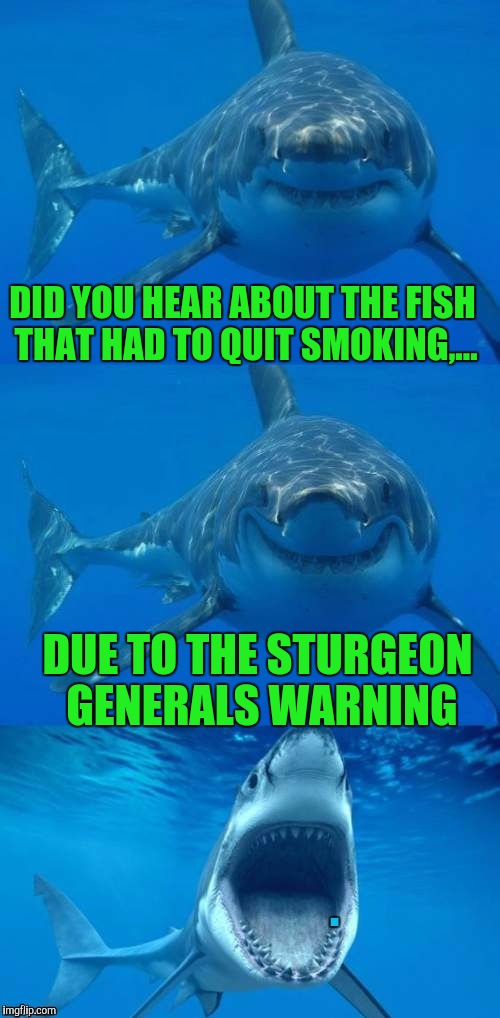 DID YOU HEAR ABOUT THE FISH THAT HAD TO QUIT SMOKING,... DUE TO THE STURGEON GENERALS WARNING | made w/ Imgflip meme maker