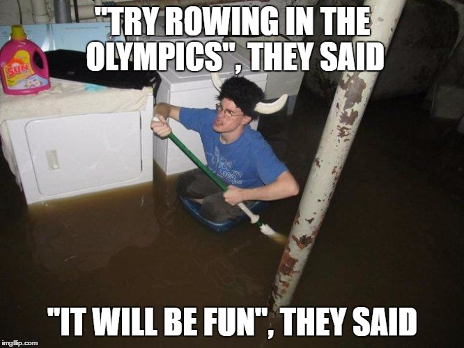 "Laundry Viking |  ""TRY ROWING IN THE OLYMPICS"", THEY SAID; ""IT WILL BE FUN"", THEY SAID 
