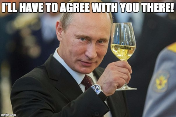 Putin Cheers | I'LL HAVE TO AGREE WITH YOU THERE! | image tagged in putin cheers | made w/ Imgflip meme maker