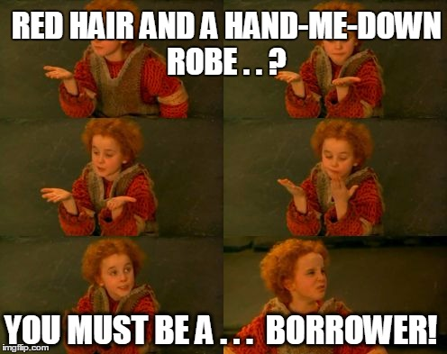 RED HAIR AND A HAND-ME-DOWN ROBE . . ? YOU MUST BE A . . .  BORROWER! | image tagged in you must be a weasley | made w/ Imgflip meme maker