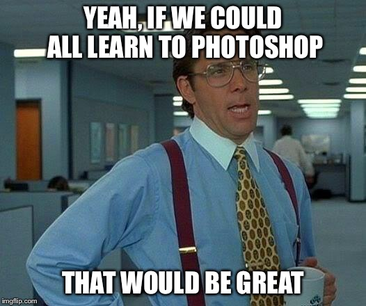 That Would Be Great Meme | YEAH, IF WE COULD ALL LEARN TO PHOTOSHOP THAT WOULD BE GREAT | image tagged in memes,that would be great | made w/ Imgflip meme maker