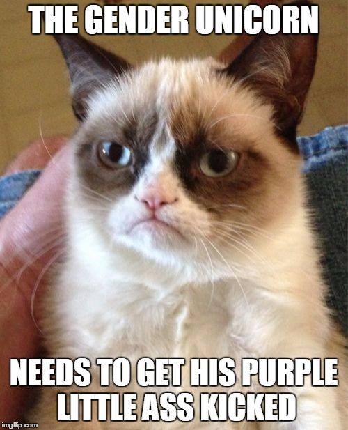 Grumpy Cat Meme | THE GENDER UNICORN NEEDS TO GET HIS PURPLE LITTLE ASS KICKED | image tagged in memes,grumpy cat | made w/ Imgflip meme maker