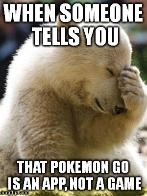 Facepalm Bear |  WHEN SOMEONE TELLS YOU; THAT POKEMON GO IS AN APP, NOT A GAME | image tagged in memes,facepalm bear | made w/ Imgflip meme maker