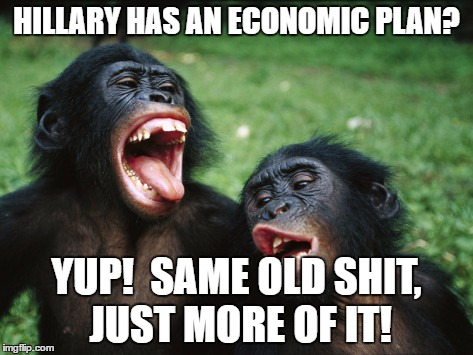 Bonobo Lyfe | HILLARY HAS AN ECONOMIC PLAN? YUP!  SAME OLD SHIT, JUST MORE OF IT! | image tagged in memes,bonobo lyfe | made w/ Imgflip meme maker