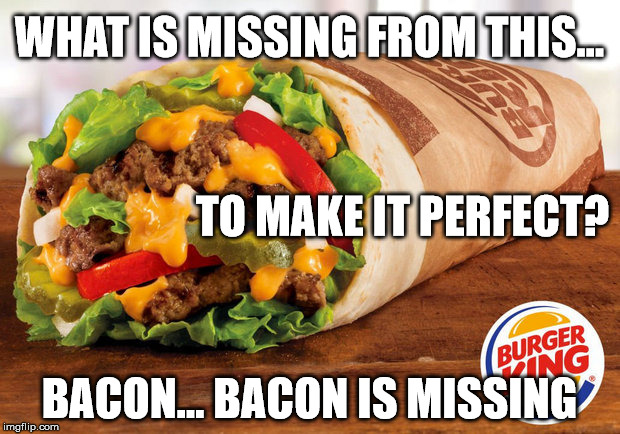 The Burger King Whopperito | WHAT IS MISSING FROM THIS... BACON... BACON IS MISSING TO MAKE IT PERFECT? | image tagged in whopperito,burrito,whopper,burger king | made w/ Imgflip meme maker