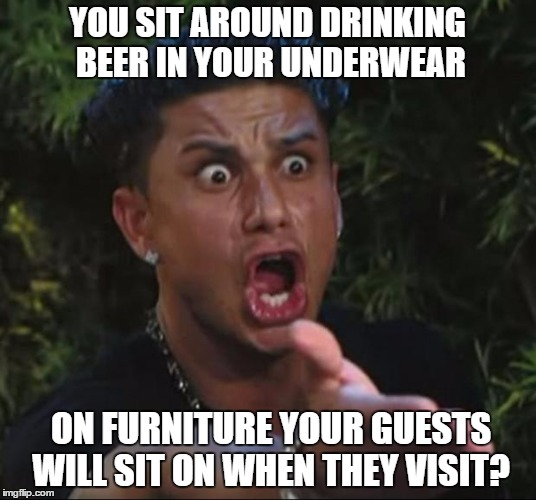 You do what? | YOU SIT AROUND DRINKING BEER IN YOUR UNDERWEAR ON FURNITURE YOUR GUESTS WILL SIT ON WHEN THEY VISIT? | image tagged in memes,dj pauly d,furniture,underwear,beer | made w/ Imgflip meme maker