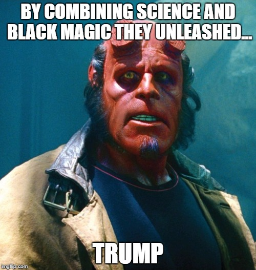 Hellboy | BY COMBINING SCIENCE AND BLACK MAGIC THEY UNLEASHED... TRUMP | image tagged in hellboy | made w/ Imgflip meme maker