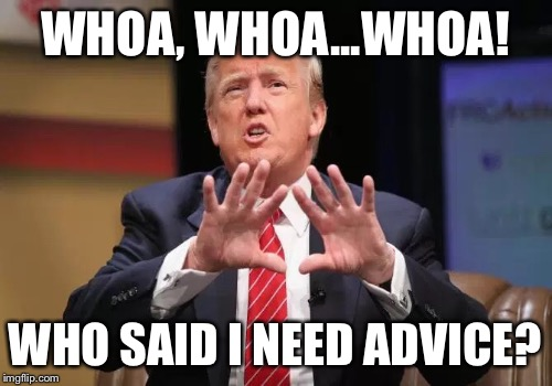Trump Has Advisors? | WHOA, WHOA...WHOA! WHO SAID I NEED ADVICE? | image tagged in donald trump | made w/ Imgflip meme maker