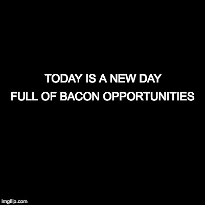 Some wisdom for you all | TODAY IS A NEW DAY FULL OF BACON OPPORTUNITIES | image tagged in blank,bacon | made w/ Imgflip meme maker