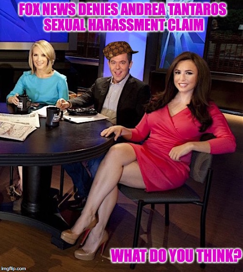 Sexual Harassment Denied |  FOX NEWS DENIES ANDREA TANTAROS SEXUAL HARASSMENT CLAIM; WHAT DO YOU THINK? | image tagged in fox news,sexual harassment,memes,sexy legs | made w/ Imgflip meme maker