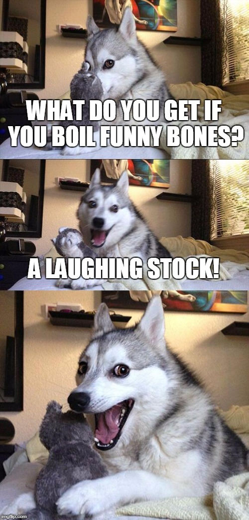 Bad Pun Dog Meme | WHAT DO YOU GET IF YOU BOIL FUNNY BONES? A LAUGHING STOCK! | image tagged in memes,bad pun dog | made w/ Imgflip meme maker