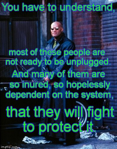 Waking Up is Hard to Do | You have to understand, that they will fight to protect it. most of these people are not ready to be unplugged. And many of them are so inur | image tagged in memes,matrix morpheus,unplug,system | made w/ Imgflip meme maker