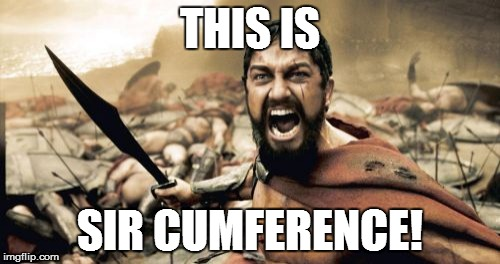 Sparta Leonidas Meme | THIS IS SIR CUMFERENCE! | image tagged in memes,sparta leonidas | made w/ Imgflip meme maker