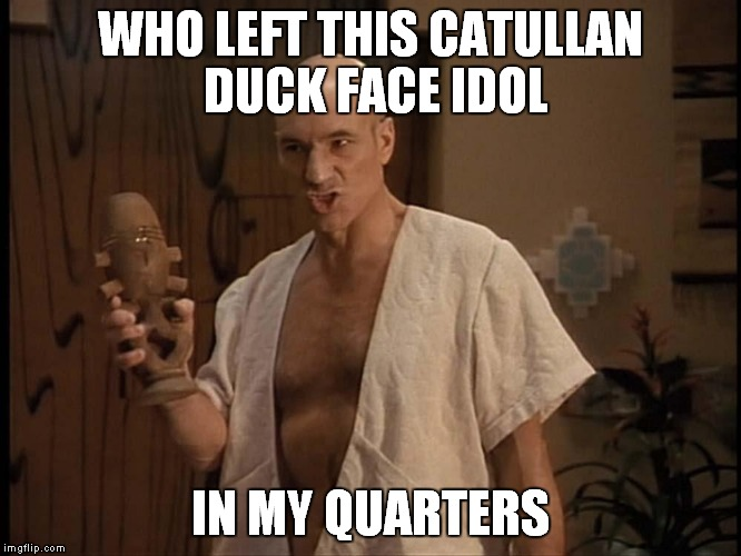 Star Trek practical jokes... | WHO LEFT THIS CATULLAN DUCK FACE IDOL IN MY QUARTERS | image tagged in captain picard,duck face,idol,impracticaljokers | made w/ Imgflip meme maker