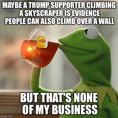 But Thats None Of My Business Meme | MAYBE A TRUMP SUPPORTER CLIMBING A SKYSCRAPER IS EVIDENCE PEOPLE CAN ALSO CLIMB OVER A WALL BUT THAT'S NONE OF MY BUSINESS | image tagged in memes,but thats none of my business,kermit the frog,AdviceAnimals | made w/ Imgflip meme maker