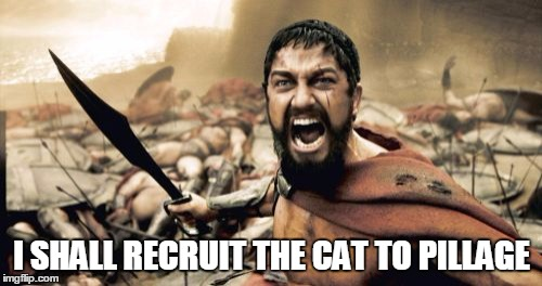 Sparta Leonidas Meme | I SHALL RECRUIT THE CAT TO PILLAGE | image tagged in memes,sparta leonidas | made w/ Imgflip meme maker