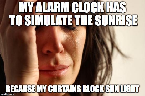 First World Problems Meme |  MY ALARM CLOCK HAS TO SIMULATE THE SUNRISE; BECAUSE MY CURTAINS BLOCK SUN LIGHT | image tagged in memes,first world problems,AdviceAnimals | made w/ Imgflip meme maker