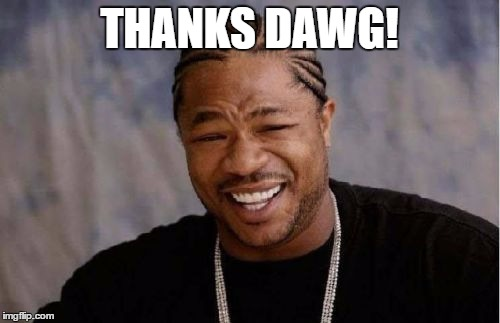 Yo Dawg Heard You Meme | THANKS DAWG! | image tagged in memes,yo dawg heard you | made w/ Imgflip meme maker