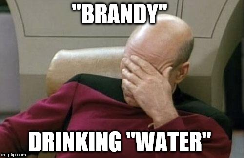"Captain Picard Facepalm Meme | ""BRANDY"" DRINKING ""WATER"" 