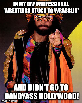 IN MY DAY PROFESSIONAL WRESTLERS STUCK TO WRASSLIN' AND DIDN'T GO TO CANDYASS HOLLYWOOD! | image tagged in macho man randy savage | made w/ Imgflip meme maker