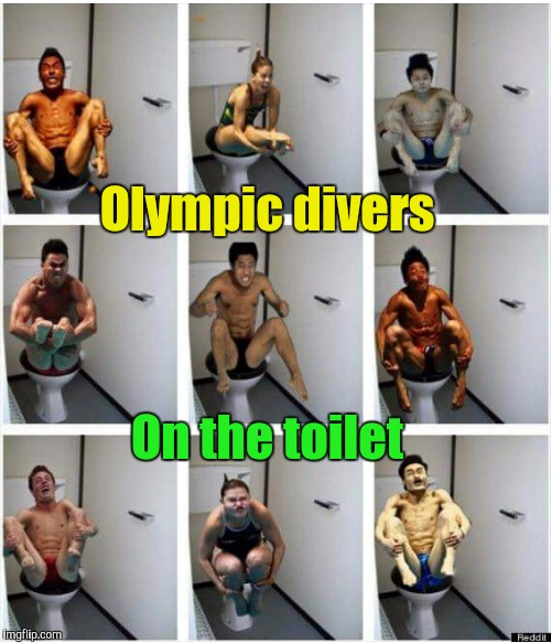 Olympic divers on the toilet | Olympic divers On the toilet | image tagged in olympic divers on the toilet,2016 olympics,olympics,diving,diver | made w/ Imgflip meme maker