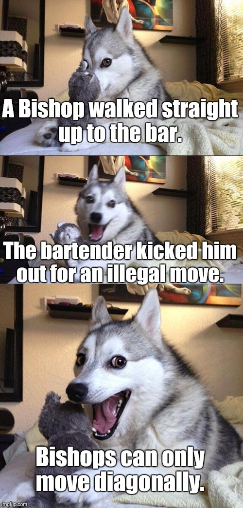 Bad Pun Dog Meme | A Bishop walked straight up to the bar. The bartender kicked him out for an illegal move. Bishops can only move diagonally. | image tagged in memes,bad pun dog | made w/ Imgflip meme maker