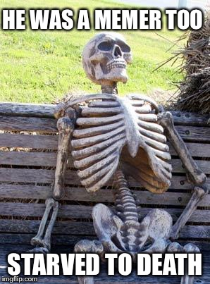 Waiting Skeleton Meme | HE WAS A MEMER TOO STARVED TO DEATH | image tagged in memes,waiting skeleton | made w/ Imgflip meme maker