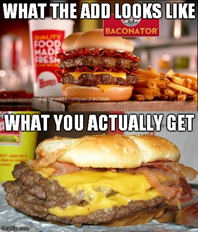 No thanks, I'll stay home and throw my own on the grill! |  WHAT THE ADD LOOKS LIKE; WHAT YOU ACTUALLY GET | image tagged in false advertising,disgusting,wendy's,do it the other way | made w/ Imgflip meme maker