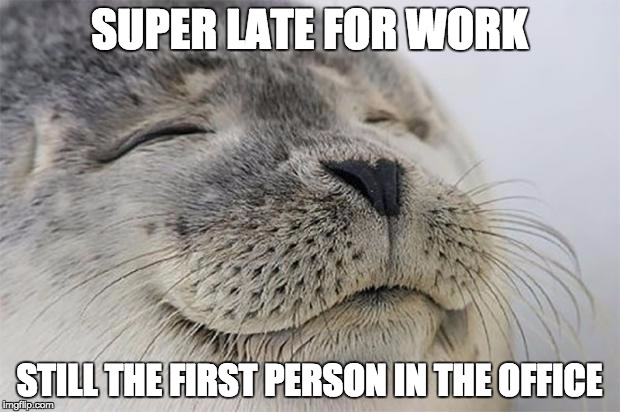 Satisfied Seal Meme |  SUPER LATE FOR WORK; STILL THE FIRST PERSON IN THE OFFICE | image tagged in memes,satisfied seal,AdviceAnimals | made w/ Imgflip meme maker