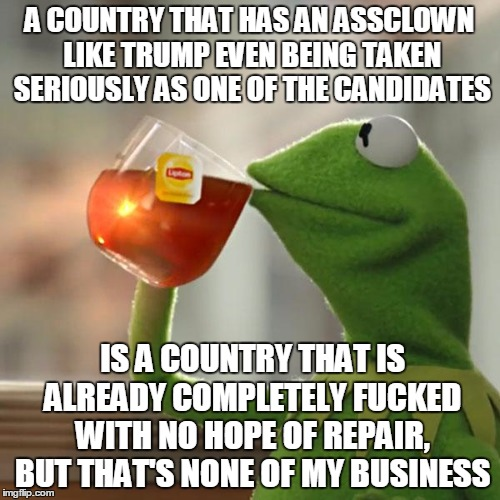 But Thats None Of My Business Meme | A COUNTRY THAT HAS AN ASSCLOWN LIKE TRUMP EVEN BEING TAKEN SERIOUSLY AS ONE OF THE CANDIDATES IS A COUNTRY THAT IS ALREADY COMPLETELY F**KED | image tagged in memes,but thats none of my business,kermit the frog | made w/ Imgflip meme maker