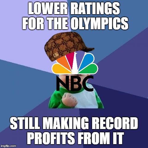 Keeping Up With The Olympics With OlympianProduct... |  LOWER RATINGS FOR THE OLYMPICS; STILL MAKING RECORD PROFITS FROM IT | image tagged in memes,success kid,scumbag,olympics,nbc,olympianproduct | made w/ Imgflip meme maker