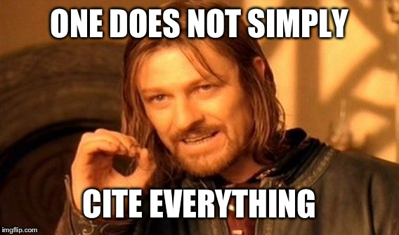 One Does Not Simply Meme | ONE DOES NOT SIMPLY CITE EVERYTHING | image tagged in memes,one does not simply | made w/ Imgflip meme maker