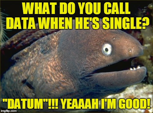 "WHAT DO YOU CALL DATA WHEN HE'S SINGLE? ""DATUM""!!! YEAAAH I'M GOOD! 