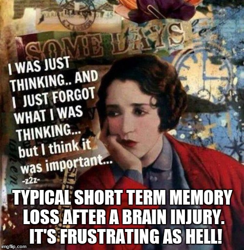 I forgot what I wanted to remember |  TYPICAL SHORT TERM MEMORY LOSS AFTER A BRAIN INJURY.  IT'S FRUSTRATING AS HELL! | image tagged in memes,bad memory,mental health,healthcare | made w/ Imgflip meme maker