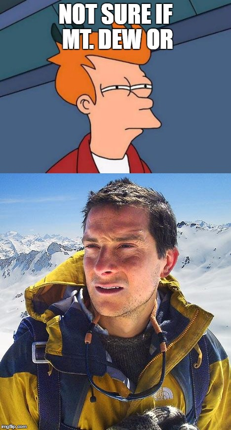 I Don't Think I would Chance It | NOT SURE IF MT. DEW OR | image tagged in futurama fry,bear grylls,go ahead drink it i dare you | made w/ Imgflip meme maker