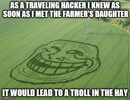 Dear forum, I never thought it would happen to me... | AS A TRAVELING HACKER I KNEW AS SOON AS I MET THE FARMER'S DAUGHTER IT WOULD LEAD TO A TROLL IN THE HAY | image tagged in memes,troll,crop circles | made w/ Imgflip meme maker