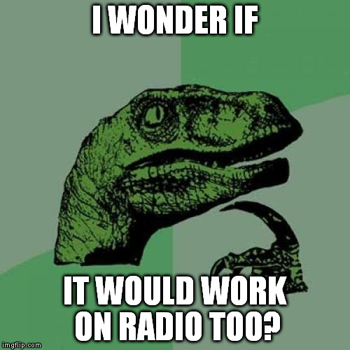 Philosoraptor Meme | I WONDER IF IT WOULD WORK ON RADIO TOO? | image tagged in memes,philosoraptor | made w/ Imgflip meme maker
