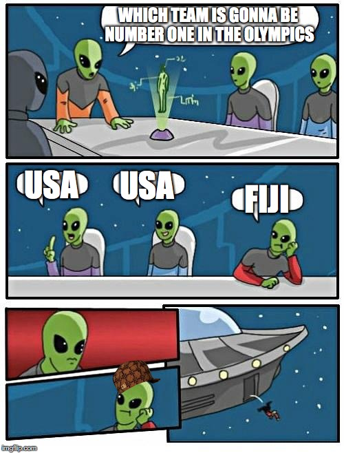 Who will win |  WHICH TEAM IS GONNA BE NUMBER ONE IN THE OLYMPICS; USA; USA; FIJI | image tagged in memes,alien meeting suggestion,scumbag,2016 olympics,usa,fiji | made w/ Imgflip meme maker