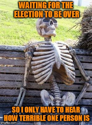 When will it end!?!? | WAITING FOR THE ELECTION TO BE OVER SO I ONLY HAVE TO HEAR HOW TERRIBLE ONE PERSON IS | image tagged in memes,waiting skeleton,2016 election fatigue,i want to hide | made w/ Imgflip meme maker