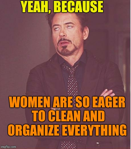 Face You Make Robert Downey Jr Meme | YEAH, BECAUSE WOMEN ARE SO EAGER TO CLEAN AND ORGANIZE EVERYTHING | image tagged in memes,face you make robert downey jr | made w/ Imgflip meme maker