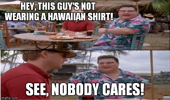HEY, THIS GUY'S NOT WEARING A HAWAIIAN SHIRT! SEE, NOBODY CARES! | made w/ Imgflip meme maker