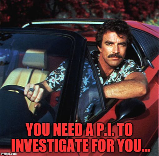YOU NEED A P.I. TO INVESTIGATE FOR YOU... | made w/ Imgflip meme maker