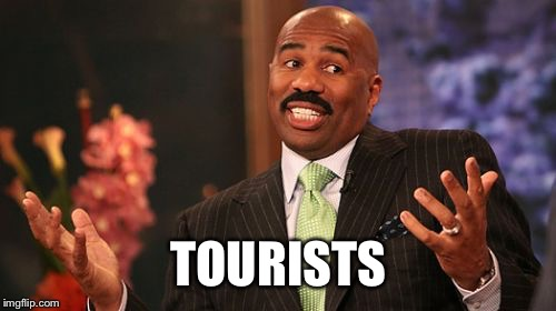 Steve Harvey Meme | TOURISTS | image tagged in memes,steve harvey | made w/ Imgflip meme maker
