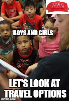 LIL BO PEEP, THE IMPOSTER | BOYS AND GIRLS LET'S LOOK AT TRAVEL OPTIONS | image tagged in mayor,trump,school,overcrowding | made w/ Imgflip meme maker