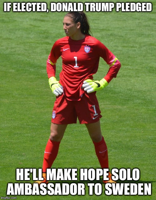 If you don't think about it, it makes a lot of sense... | IF ELECTED, DONALD TRUMP PLEDGED HE'LL MAKE HOPE SOLO AMBASSADOR TO SWEDEN | image tagged in memes | made w/ Imgflip meme maker